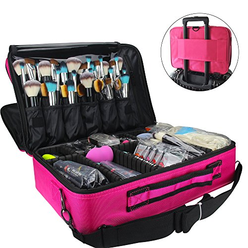Price comparison product image MLMSY Makeup Train Case 3 Layer Cosmetic Organizer Beauty Artist Storage Brush Box with Shoulder Strap, Pink, 16 inches