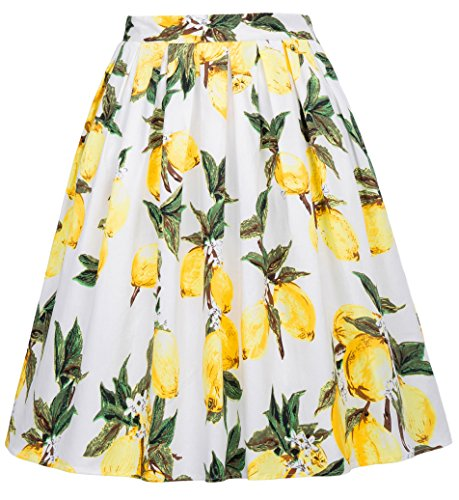 Retro Floral Swing Skirt for Women A Line Size L CL6294-23