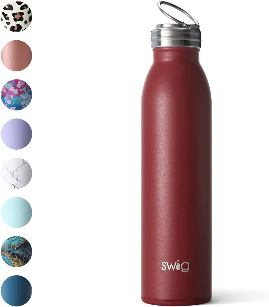 Dishwasher Safe with Screw-On Flip Ring Cap Swig Life Stainless Steel Signature 20oz Water Bottle