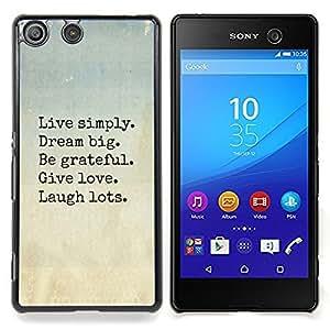 Eason Shop / Premium SLIM PC / Aliminium Casa Carcasa Funda Case Bandera Cover - Love Laugh motivación - For Sony Xperia M5