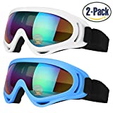 Ski Goggles, Pack of 2, Skate Glasses for Kids, Boys & Girls, Youth, Men & Women, with UV 400 Protection, Wind Resistance, Anti-Glare Lenses, made by COOLOO