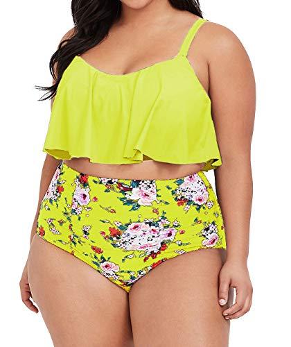 Womens Plus Size High Waisted Swimsuit Floral Bikini Ruffle Flounce Two Piece Swimwear Monokini (4X, Z-Yellow)