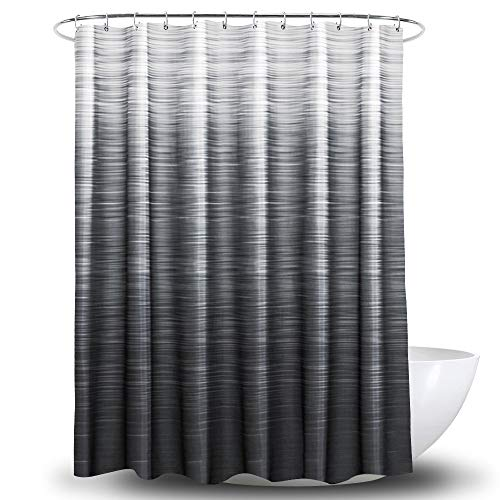 Yostev Ombre Black Bathroom Fabric Shower Curtain with Hooks,Decorative Bathroom Accessories,Water Proof,Reinforced Metal Grommets 72x72 inches(Black Shadow) (Black White Grey Curtains)