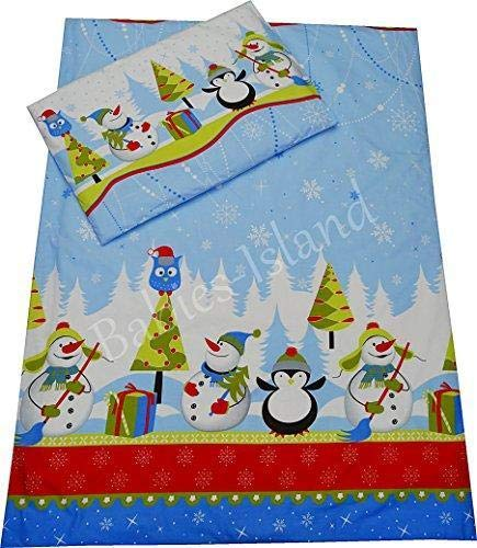 Ellaao A2 Piece Bedding Set Pillowcase+Duvet Cover for Baby Toddler to Fit Cot/Cot Bed - Christmas Winter Blue (90X120 cm)