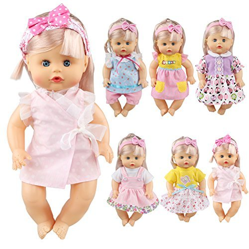 3y Baby Clothing (Pack of 6 Fit for 12 Inch Alive Baby Doll Dress Clothes Fashionista Gown Outfits Include Hair Band For Girls American Doll)
