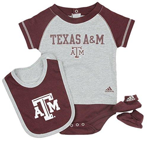 Texas A&M University Aggies NCAA Unisex Baby Infant 3 Piece Set - Little Tee Creeper- Bib - Booties /Maroon - Grey