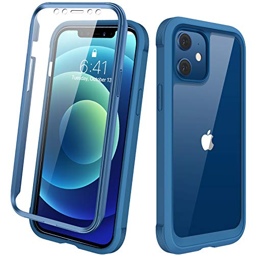 Diaclara Designed for iPhone 12 Mini Case, Full Body Rugged Case with Built-in Touch Sensitive Anti-Scratch Screen Protector, Soft TPU Bumper Case Clear Designed for iPhone 12 Mini 5.4""