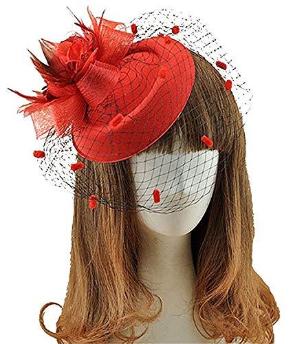 Fascinators Hair Clip Headband Pillbox Hat Bowler Feather Flower Veil Wedding Party Hat (Red)