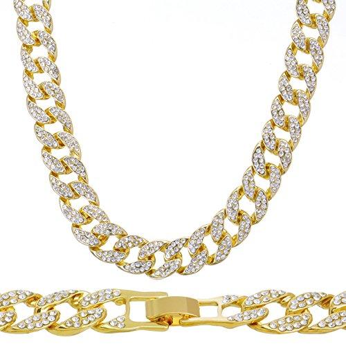 Prisa Times 14k Gold Plated Iced Out Techno Pave Men Watch, Cuban Chain & Bracelet Set (Cuban Bracelet Only) 14k Yellow Gold Wrist Watch