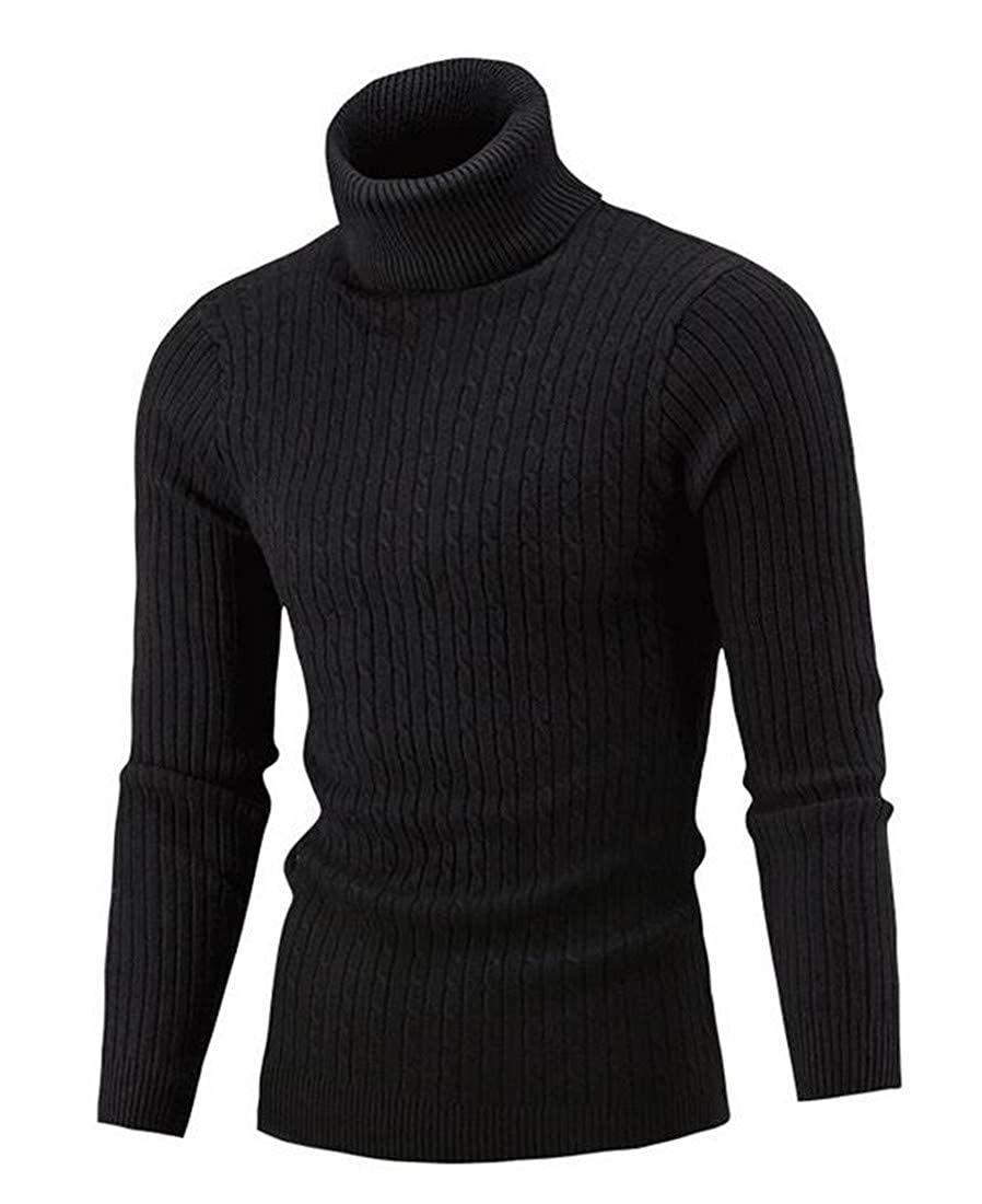 Pivaconis Men Warm Turtleneck Slim Fit Knitwear Cable Knitted Pullover Sweater