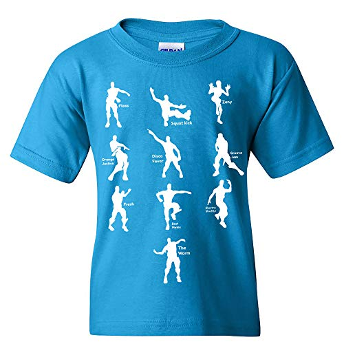 UGP Campus Apparel Emote Dances - Funny Youth T Shirt - Large - Sapphire (Youth Only T-shirt Medium)