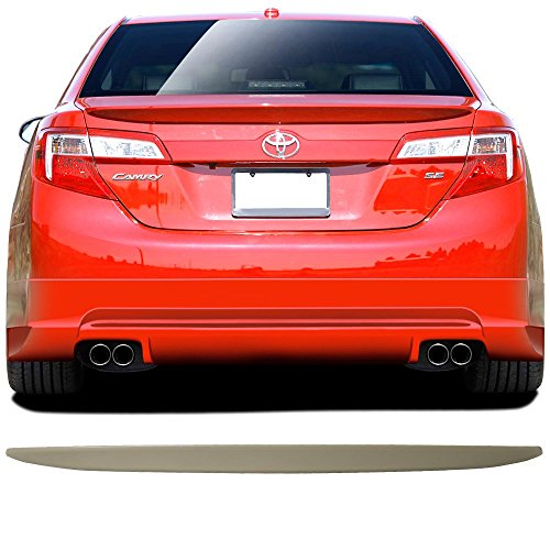 (Trunk Spoiler Fits 2012-2014 Toyota Camry | Factory Style Unpainted Black ABS Plastic Added On Spoiler Wing Deck Lid By IKON MOTORSPORTS | 2013)