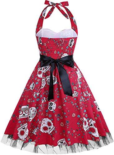 Fe Vestido Azúcar De Fiesta Red Verano De Floral 2 Vendimia Calavera Mujeres wWU6Xq8tO