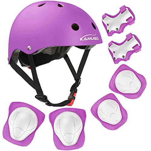 KAMUGO Kids Bike Helmet, Toddler Helmet for Ages 3-8 Boys Girls with Sports Protective Gear Set Knee Elbow Wrist Pads for Skateboard Cycling Scooter Rollerblading, CPSC Certified