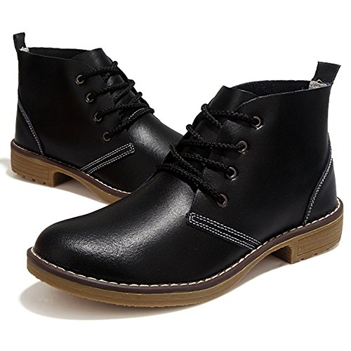 Weideng Candy Color Fashion Mujer Lace Up Zapatos Clásicos De Cuero Genuino High Style Flat Casual Zapatos Botas Negro