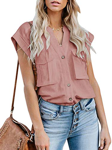 (Womens Summer Button Down Shirts Pocket Cap Sleeve Blouse Military Utility Tops)