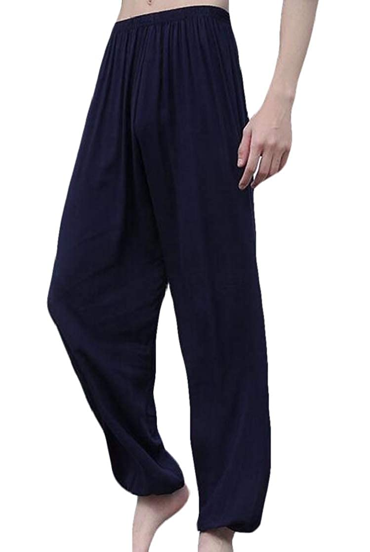 YYear Women Yoga Elastic Waist Bloomers Pure Color Martial Art Long Pants