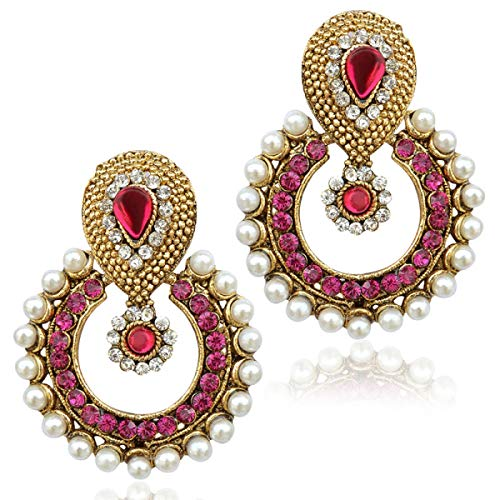 Designer Indian Earrings (Rani pink earrings bridal jewellery sets earrings Indian jewellery bali hoop type Rani Pink B332R Pink)