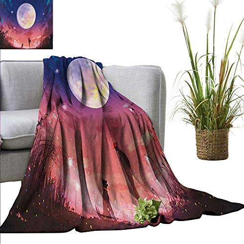"""PearlRolan Weighted Blanket Fantasy,Young Woman with A Dog Under Huge Moon Starry Sky Celestial Magical Friendship Art,Navy Coral Indoor/Outdoor Comfortable for All Seasons 60""""x78"""""""