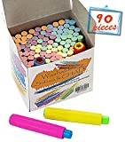 Chalkboard Chalk 88 Pack,Non-Toxic Sidewalk Chalk and Colored Dustless Chalk+2 Chalk Holder