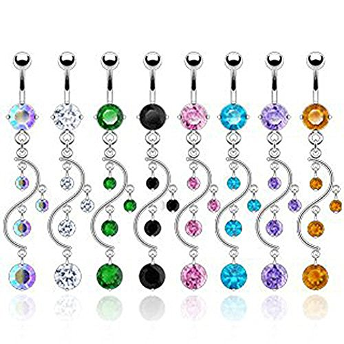 SBJ-0002 Stainless Steel Navel Ring Vine Dangle With CZ; Choose 1 Color (Clear)