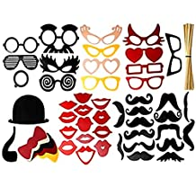 50 Pcs DIY Photography Photo Booth Props Kit for Wedding Birthdays Graduate Party Travel Selfie Dress-up Accessories