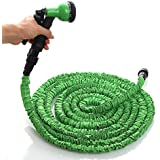 Stillcool-Tacklife Manguera de Jardín Extensible & Flexible de 5m a 15m Manguera de Riego con una Pistola de Presión 7 Tipos de Chorro Distintos, Verde