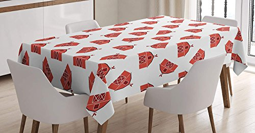 Barn Door Tablecloth Linen Decor Table Cover for Kitchen Dinning Room Rectangle Oblong Tablecloths 54 W X 109 L Inch, Country Barn Pattern with Rooster Silhouette Weather Vane Farmer Theme