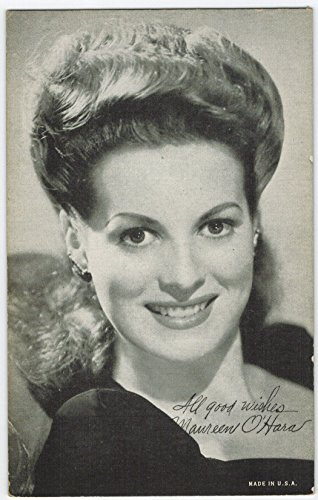 Exhibit Maureen O'Hara Arcade Card: BW 1940s (13mm MADE IN U.S.A.) - Exhibit Series