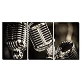 Best Vocal Microphones For Stages - wall26-3 Piece Canvas Wall Art - Closeup of Review