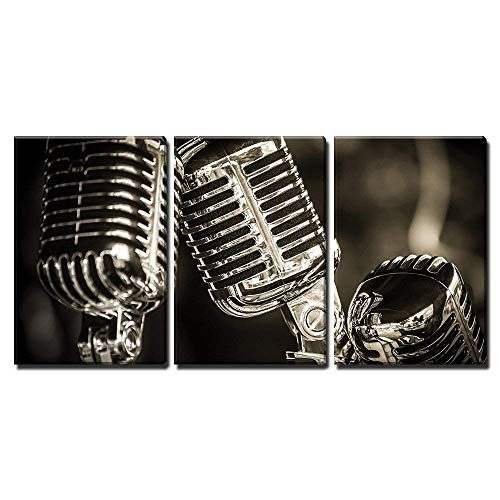 wall26 - 3 Piece Canvas Wall Art - Closeup of Chromed Retro Recording Studio Microphones - Modern Home Decor Stretched and Framed Ready to Hang - 24