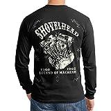 Shovelhead Engine Vintage Motorcycle Biker Men T Shirt Longsleeve Black (3X-Large)