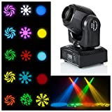 Ogori Stage Lighting Moving Head Light DMX-512 25W Mini CREE LED Stage Light Spot For DJ Club Party,9/11CH RGBW Gobo Rainbow Stage PAR Show Disco Bar Lighting (1 pack)