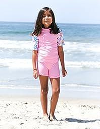 SunBusters Girls Fitted Rash Set(UPF 50+), Purple SeaStarberry, 2/3 yrs