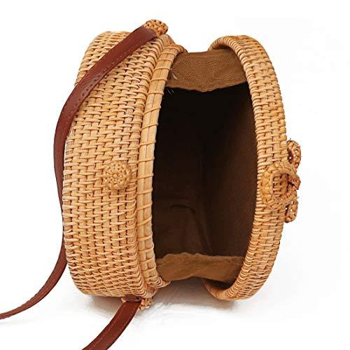 Modeväska solrossmönster höst rotting handgjord rottingväska vintage konst strand damer diagonal väska, storlek: 20 x 20 x 8 cm