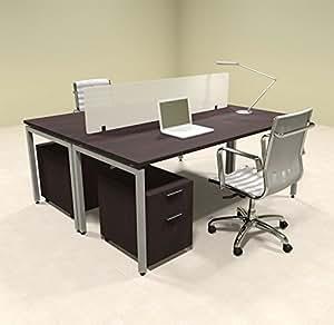 two person modern divider office workstation desk set of con fp23 office products. Black Bedroom Furniture Sets. Home Design Ideas