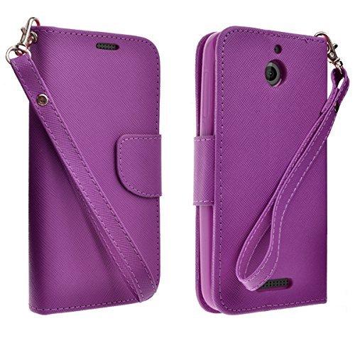 Purple Magnetic Leather Flip Wallet Pouch HTC Desire 510, Slim Folio Case with Kickstand, 2 Credit Card Slot Wallet Pouch (PURPLE) ()