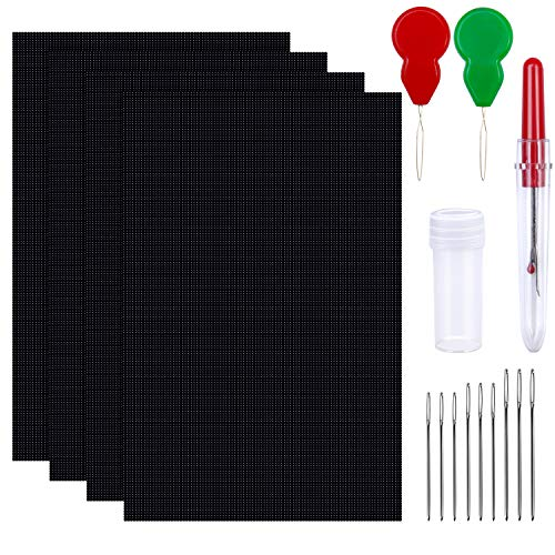 Elcoho 4 Pieces 14 Count 12 by 18 Inch Black Classic Reserve Aida Cloth with 2 Needle Threader 1 Seam Ripper 9 Large Eye Needles (Black) ()