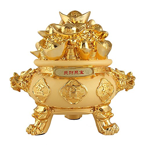 Wenmily Feng Shui Golden Ingot Yuan Bao Treasure Basin Wealth Porsperity Figurine, Best Housewarming Congratulatory Gift,Feng Shui Decor