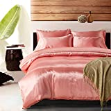 Yovoro Home Luxury Soft Satin Silky Reversible 4pcs Duvet Cover Set Bedding Set Queen Size Pink