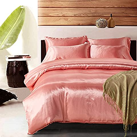 Yovoro Home Luxury Soft Satin Silky Reversible 4pcs Duvet Cover Set Bedding Set Queen Size Pink - Pink Satin Sheet Set