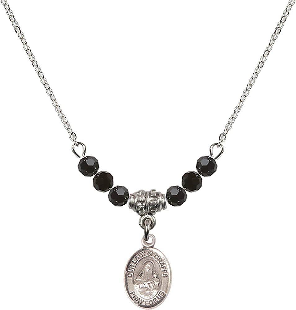 18-Inch Rhodium Plated Necklace with 4mm Jet Birthstone Beads and Sterling Silver Our Lady of Grapes Charm.
