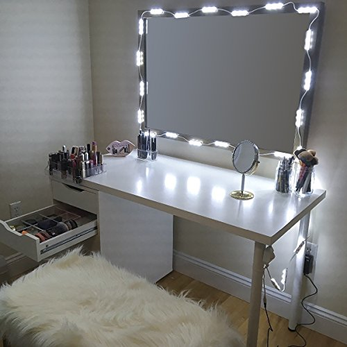 Makeup Mirror Vanity LED Light Bulbs Kit for Dressing Table with Dimmer and Power Supply Plug in, Linkable, Mirror Not Included (Bar) by Greenclick