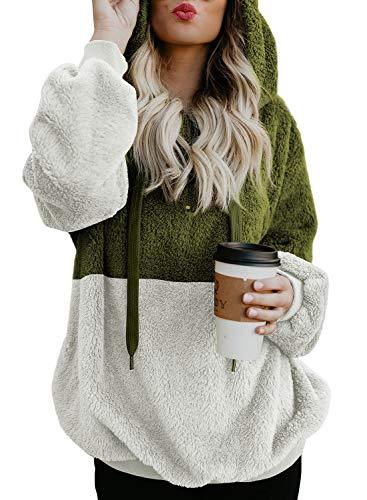 Outwear Pocket Loose Asvivid UK6 Size Hoodie Pullover Fashion Furry Hoodies Colorblock Green 22 Sweatshirt Women qg1vp