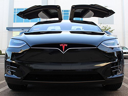 (Edwin Group of Companies Tesla Logo Sticker Model X. Nose Cone Front Emblem T Decal Sticker Vinyl. RED)