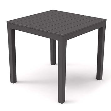SIBrand Evergreen Table carré en résine Anthracite 80 x 80 x ...