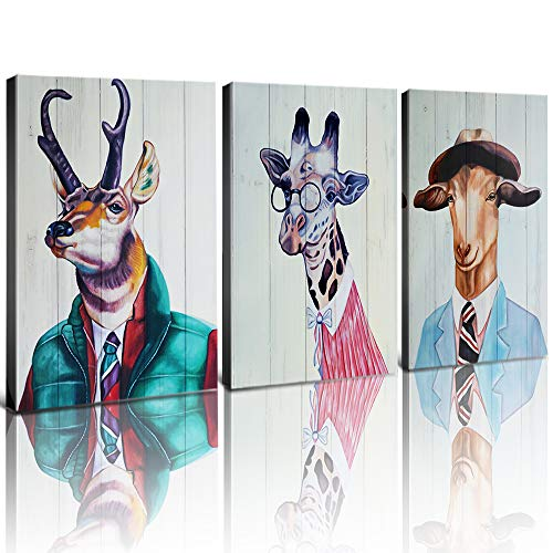 Animal Wall Art Canvas Prints Home Decor Retro Animals Portrait Reindeer Elk Giraffe Dressed Goat Wearing Glasses Clothes Hat Painting Pictures Modern Artwork for Kids Room Gifts Set 3 Panels 20x28 (Reindeer Home Decor)