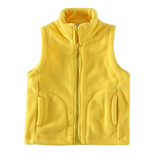 Fleece Baby Fleece Vest - LittleSpring Baby Girl' Fleece Vests Zipper Solid Yellow 24 Months