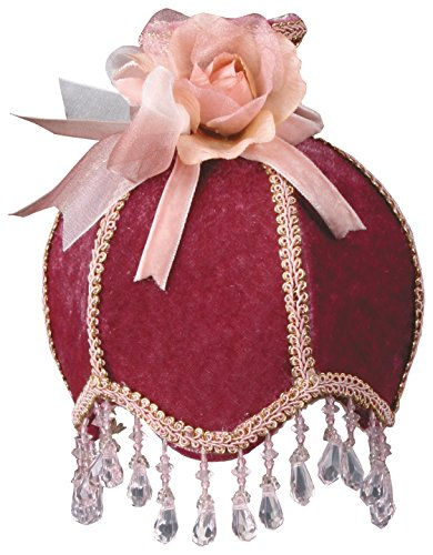 (Royal Designs NL-108 Beaded Burgundy Velvet Victorian Nightlight Designer Fabric Beige Trim, Burgundy)
