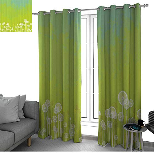 Apartment Decor Kitchen/Bedroom Window Treatments Home Decoration Dandelion Flower Pattern Wild North American Flowering Plant Summertime Art soundproof curtain Apple Green Seafoam W96 x L84 Inch (Apple One Fresno)